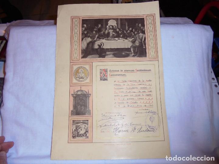 Documentos antiguos: ARCHICOFRADIA DE LA VELA NOMBRAMIENTO DE SOCIA ACTIVA OVIEDO 1909 - Foto 2 - 111173267