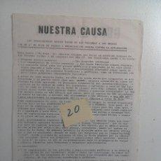 Documentos antiguos: TRANSICION. NUESTRA CAUSA. GRUPO DE LUCHADORES OBREROS POR 1º DE MAYO CONTRA LA EXPLOTACION 1977. Lote 111303027