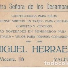 Documentos antiguos: TARJETA COMERCIAL NUESTRA SEÑORA DE LOS DESAMPARADOS CONFECCION VALENCIA DETRAS ESTAMPA 1923 - -C-19. Lote 111517135