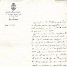 Documentos antiguos: BARCELONA - OFICIO SECCION ADMINISTRATIVA PRIMERA ENSEÑANZA - 21 FEBRERO 1923 - CANYELLAS JUBILACION. Lote 111567647