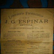 Documentos antiguos: CATALOGO DEL LABORATORIO DE FARMACIA J.G. ESPINAR DE SEVILLA. Lote 111736591