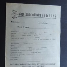 Documentos antiguos: GUERRA CIVIL / SOLICITUD DE INGRESO - FALANGE ESPAÑOLA T. Y DE LAS JONS / AÑO 1938 - II AÑO TRIUNFAL. Lote 185977302