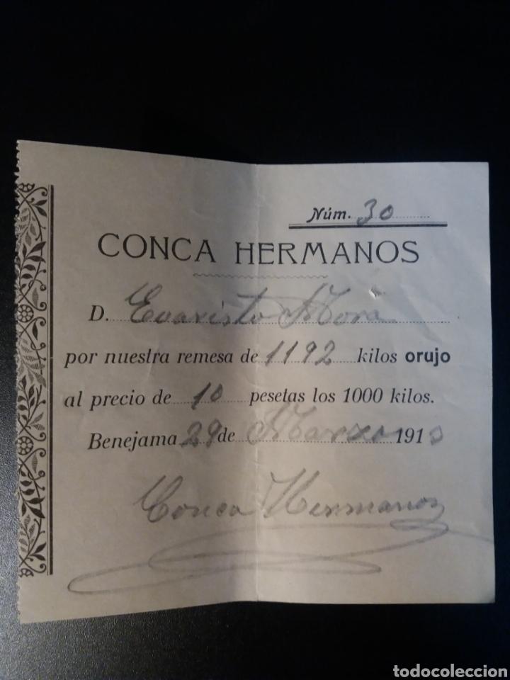 CONCA HERMANOS BENEJAMA ALICANTE 1913 (Coleccionismo - Documentos - Otros documentos)