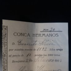 Documentos antiguos: CONCA HERMANOS BENEJAMA ALICANTE 1913. Lote 111818526