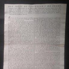 Documentos antiguos: BANDO 1820 AUMENTAR HORAS OFICINA EMPLEADOS DE HACIENDA ACTIVAR ATRASOS JEFE POLITICO CASTELLAR . Lote 111886359