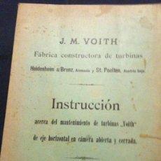 Documentos antiguos: TURBINA INSTALACION INSTRUCCIONES. Lote 112006259