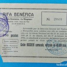 Documentos antiguos: RIFA BENEFICA, COCHE BISCUTER TIENDA ECONOMICA- LA MILAGROSA - ZARAGOZA - AÑO 1956 - .... R-8364. Lote 112046287