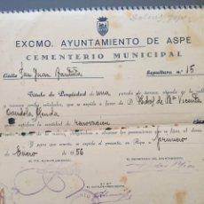 Documentos antiguos: TÍTULO PROPIEDAD PÁRTELA CEMENTERIO DE ASPE 1956. Lote 112106664