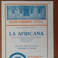 Documentos antiguos: PROGRAMA OPERA LA AFRICANA FEBRERO 1922 PUBLICIDAD PELETERIA LA SIBERIA/CASA BARNET BARCELONA. Lote 112229579