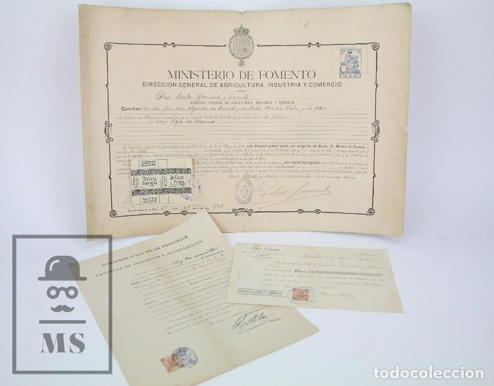 DOCUMENTOS DE PATENTE DE INVENCIÓN Y CERTIFICADO-TÍTULO - ENVOLTORIO DE DULCES - BARCELONA, AÑO 1909 (Coleccionismo - Documentos - Otros documentos)
