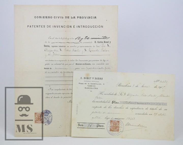 Documentos antiguos: Documentos de Patente de Invención y Certificado-Título - Envoltorio de Dulces - Barcelona, Año 1909 - Foto 7 - 112316627
