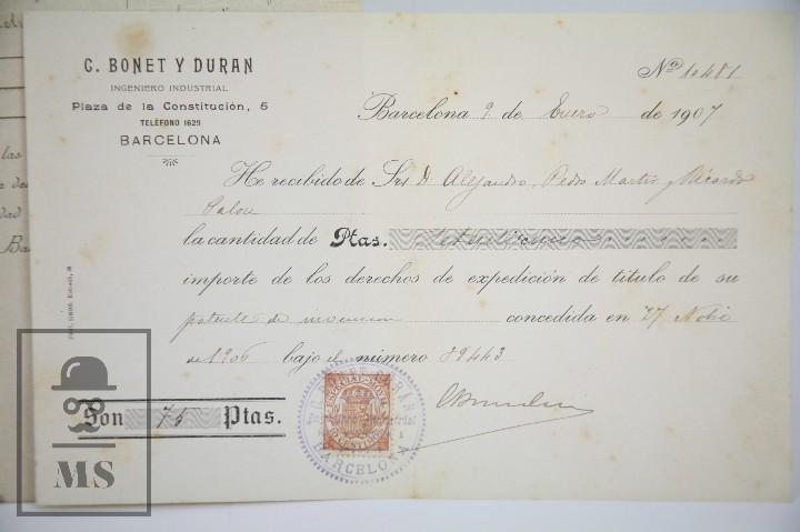 Documentos antiguos: Documentos de Patente de Invención y Certificado-Título - Envoltorio de Dulces - Barcelona, Año 1909 - Foto 8 - 112316627