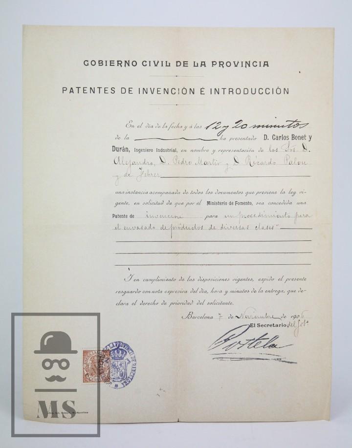 Documentos antiguos: Documentos de Patente de Invención y Certificado-Título - Envoltorio de Dulces - Barcelona, Año 1909 - Foto 9 - 112316627
