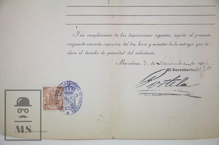 Documentos antiguos: Documentos de Patente de Invención y Certificado-Título - Envoltorio de Dulces - Barcelona, Año 1909 - Foto 10 - 112316627