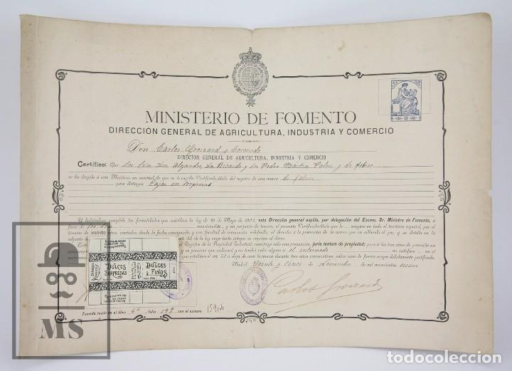 Documentos antiguos: Documentos de Patente de Invención y Certificado-Título - Envoltorio de Dulces - Barcelona, Año 1909 - Foto 2 - 112316627