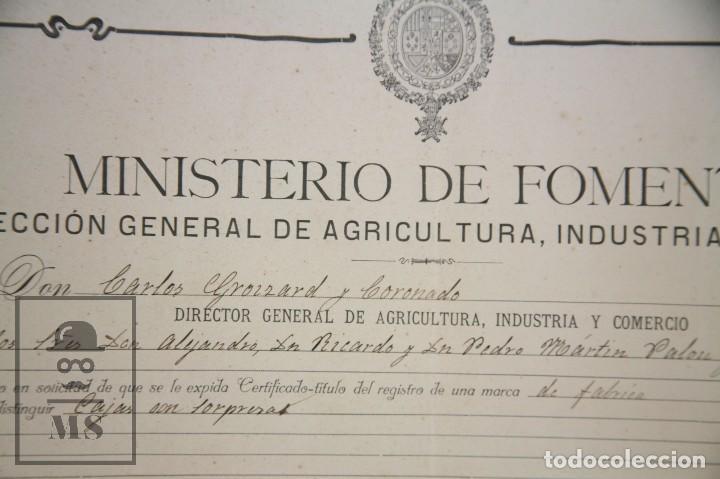 Documentos antiguos: Documentos de Patente de Invención y Certificado-Título - Envoltorio de Dulces - Barcelona, Año 1909 - Foto 4 - 112316627