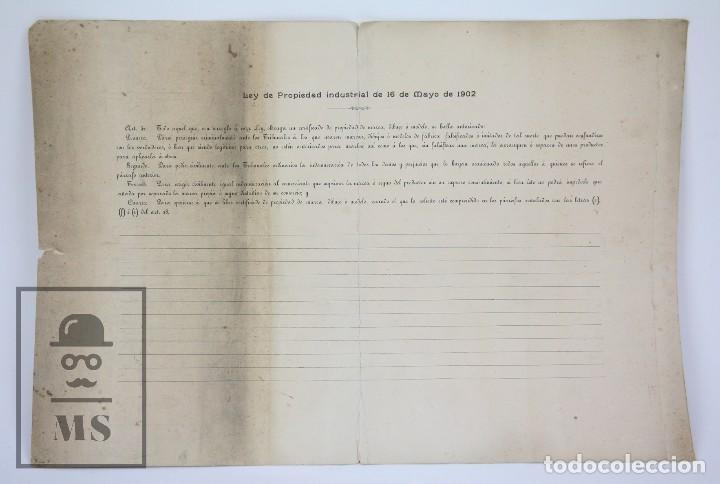 Documentos antiguos: Documentos de Patente de Invención y Certificado-Título - Envoltorio de Dulces - Barcelona, Año 1909 - Foto 6 - 112316627