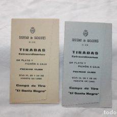 Documentos antiguos: 2 PROGRAMAS, SOCIEDAD DE CAZADORES ELDA, 1965, TIRADA DE PLATO Y PICHON A CAJA,. Lote 112489147