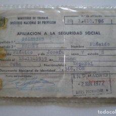 Documentos antiguos: DOCUMENTO SEGURIDAD SOCIAL 1972-1975 ESPAÑOL NACIDO EN LA HABANA, CUBA // PLACIDO IGLESIAS PERMUY. Lote 112608495