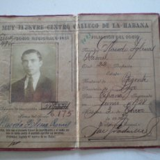Documentos antiguos: CARNET CENTRO GALLEGO DE LA HABANA 1928-29 // PLACIDO IGLESIAS RAMIL // CUBA LUGO GALICIA INDIANO. Lote 112600831
