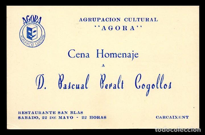Tarjeta Invitacion Agrupacion Cultural Agora Cena Homenaje D Pascual Peralt Cogollos