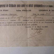 Documentos antiguos: CASTALLA ALICANTE. AYUNTAMIENTO 1923- 24. Lote 112716856
