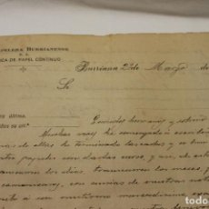 Documentos antiguos: CARTA LA PAPELERA BURRIANENSE, FABRICA DE PAPEL CONTINUO, BURRIANA 1919. Lote 112814607