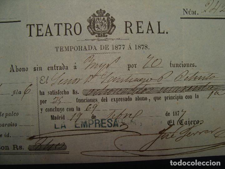 ABONO TEATRO REAL TEMPORADA DE 1877 A 1878. MUY BUEN ESTADO (Coleccionismo - Documentos - Otros documentos)