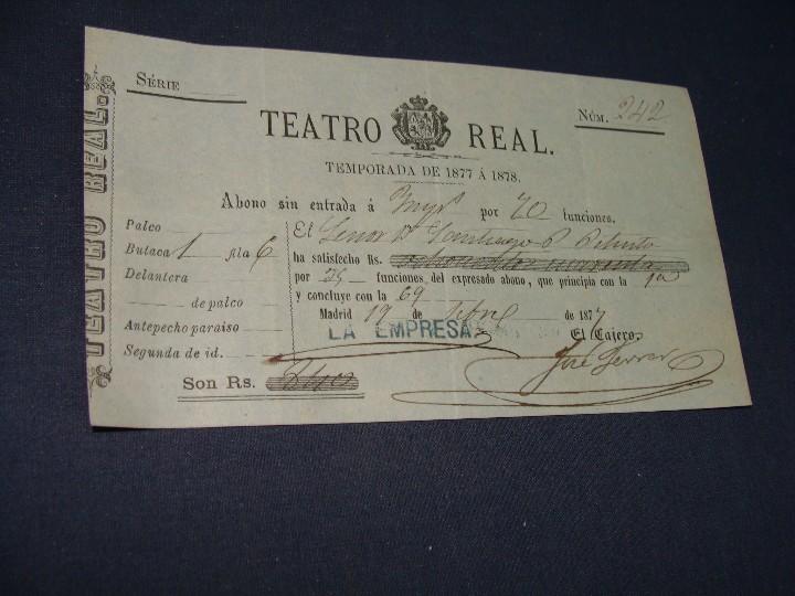 Documentos antiguos: ABONO TEATRO REAL TEMPORADA DE 1877 A 1878. MUY BUEN ESTADO - Foto 4 - 112901951