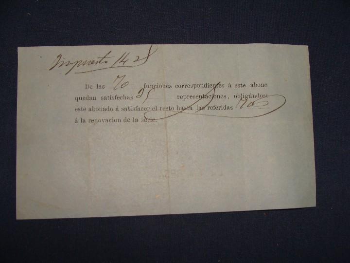 Documentos antiguos: ABONO TEATRO REAL TEMPORADA DE 1877 A 1878. MUY BUEN ESTADO - Foto 5 - 112901951