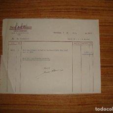 Documentos antiguos: (ALB-TC-14) RECIBO JOSE ANT TORRES CUADROS ANTIGUEDADES BARCELONA 1954. Lote 113219363
