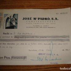 Documentos antiguos: (ALB-TC-14) RECIBO JOSE M PADRO CONSTRUCTORES BARCELONA 1953. Lote 113219571
