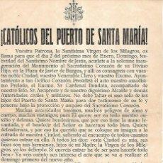 Documentos antiguos: CATOLICOS DEL PUERTO SANTA MARIA. BANDO. 1926. Lote 113244679