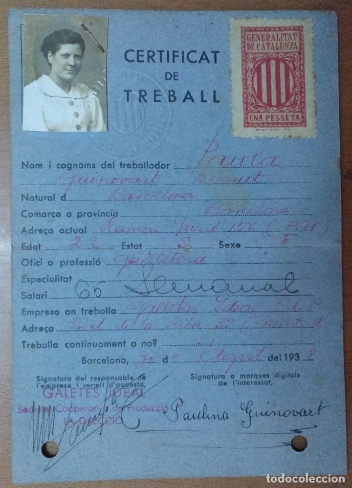 CERTIFICAT DE TREBALL GALETES IDEAL SOCIETAT COOPERATIVA PRODUCCIO MONTGAT 1938 GUERRA CIVIL FOTO (Coleccionismo - Documentos - Otros documentos)
