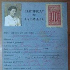 Documentos antiguos: CERTIFICAT DE TREBALL GALETES IDEAL SOCIETAT COOPERATIVA PRODUCCIO MONTGAT 1938 GUERRA CIVIL FOTO. Lote 113678743