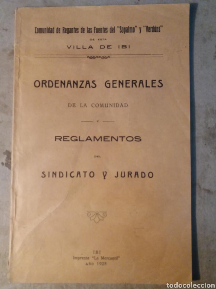IBI ALICANTE ,COMUNIDAD DE REGANTES 1928 (Coleccionismo - Documentos - Otros documentos)