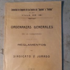 Documentos antiguos: IBI ALICANTE ,COMUNIDAD DE REGANTES 1928. Lote 113720655
