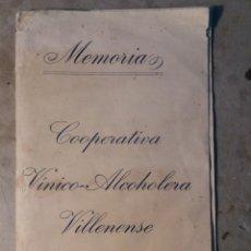 Documentos antiguos: COOPERATIVA VINICOLA VILLENENSE 1929 MEMORIA.. Lote 113814787