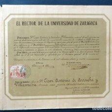 Documentos antiguos: TÍTULO DE BACHILLER RECTOR UNIVERSIDAD DE ZARAGOZA 1884. Lote 113826007