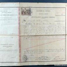 Documentos antiguos: CERTIFICACIÓN ACADÉMICA PERSONAL UNIVERSIDAD CENTRAL ZARAGOZA DERECHO 1909. Lote 113826807