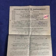 Documentos antiguos: POLIZA ABONO SUMINISTRO ENERGIA ELECTRICA HIDROELECTRICA BUENAMESON SERVICIO ALUMBRADO 1945 S XX. Lote 113904519