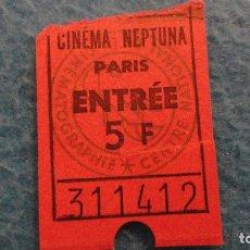 Documentos antiguos: ANTIGUA ENTRADA.CINEMA NEPTUNA.PARIS.FRANCIA. Lote 113969635