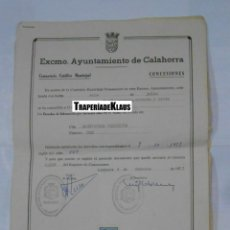 Documentos antiguos: DOCUMENTO EXPEDIDO POR EL AYUNTAMIENTO DE CALAHORRA. CONCESION PARA NICHO EN EL CEMENTERIO. TDKP1. Lote 113993011