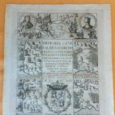 Documentos antiguos: GRABADO ANTIGUO FRONTISPICIO LIBRO DE HERRERA DESCUBRIMIENTO DE AMÉRICA 1730 CON CERTF. AUTENT.. Lote 113996827