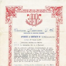 Documentos antiguos: CONTRATO PRESTACION DE SERVICIOS FUNEBRES - PREVISORA MANRESANA, S.A. MANRESA - 1954.. Lote 114292583