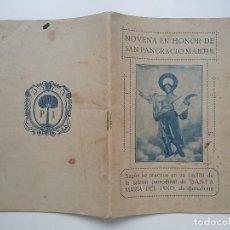 Documentos antiguos: NOVENA A SAN PANCRACIO MÁRTIR 1925 SANTA MARIA DEL PI. Lote 114339427