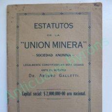 Documentos antiguos: ESTATUTOS DE LA UNIÓN MINERA. LA HABANA 1916. CUBA. Lote 114392503