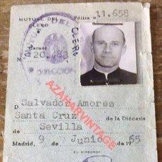 Documentos antiguos: RARISIMO CARNET EMITIDO EN 1965 DE LA MUTUA DEL CLERO. Lote 114617435