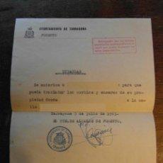 Documentos antiguos: DOCUMENTO DANDO PERMISO PARA REALIZAR UNA MUDANZA.1963.FIRMADO TTE. ALCALDE FOMENTO TARRAGONA. Lote 114683211