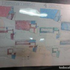 Documentos antiguos: ANTIGUOS DIBUJOS PINTADOS 3 PLANOS I MUSEO ARTE ROMANO MERIDA CON APUNTES MANUSCRITOS. Lote 114750055